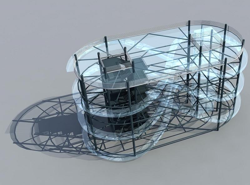 立体式玻璃水滑道-玻璃漂流水滑道升级产品